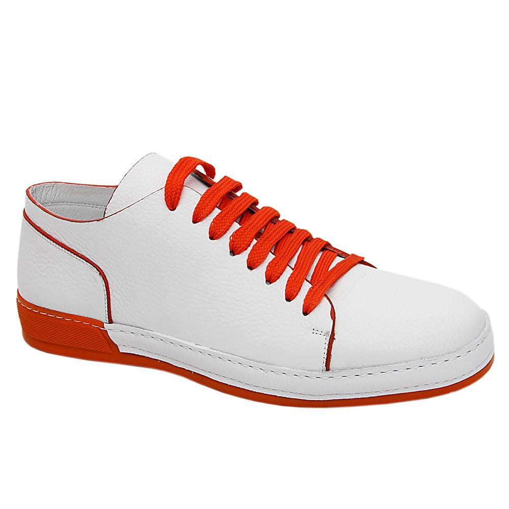 White Orange Travis Smith Italian Leather Sneakers