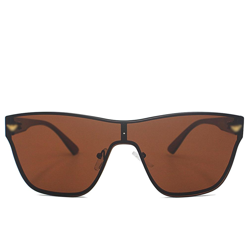 Brown Rimless Wayfarer Sunglasses