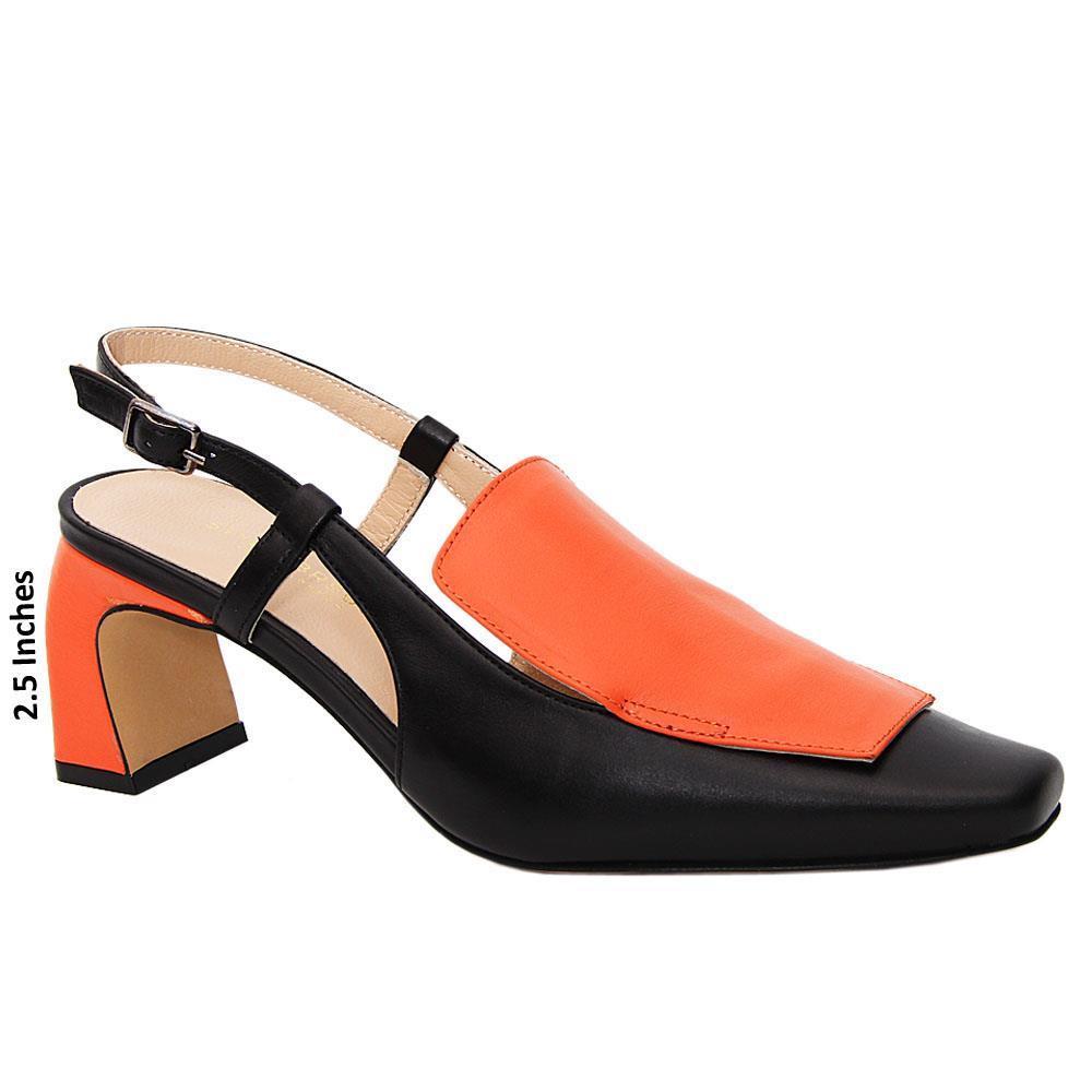 Black Orange Lina Tuscany Leather Mid Heel Slingback Pumps