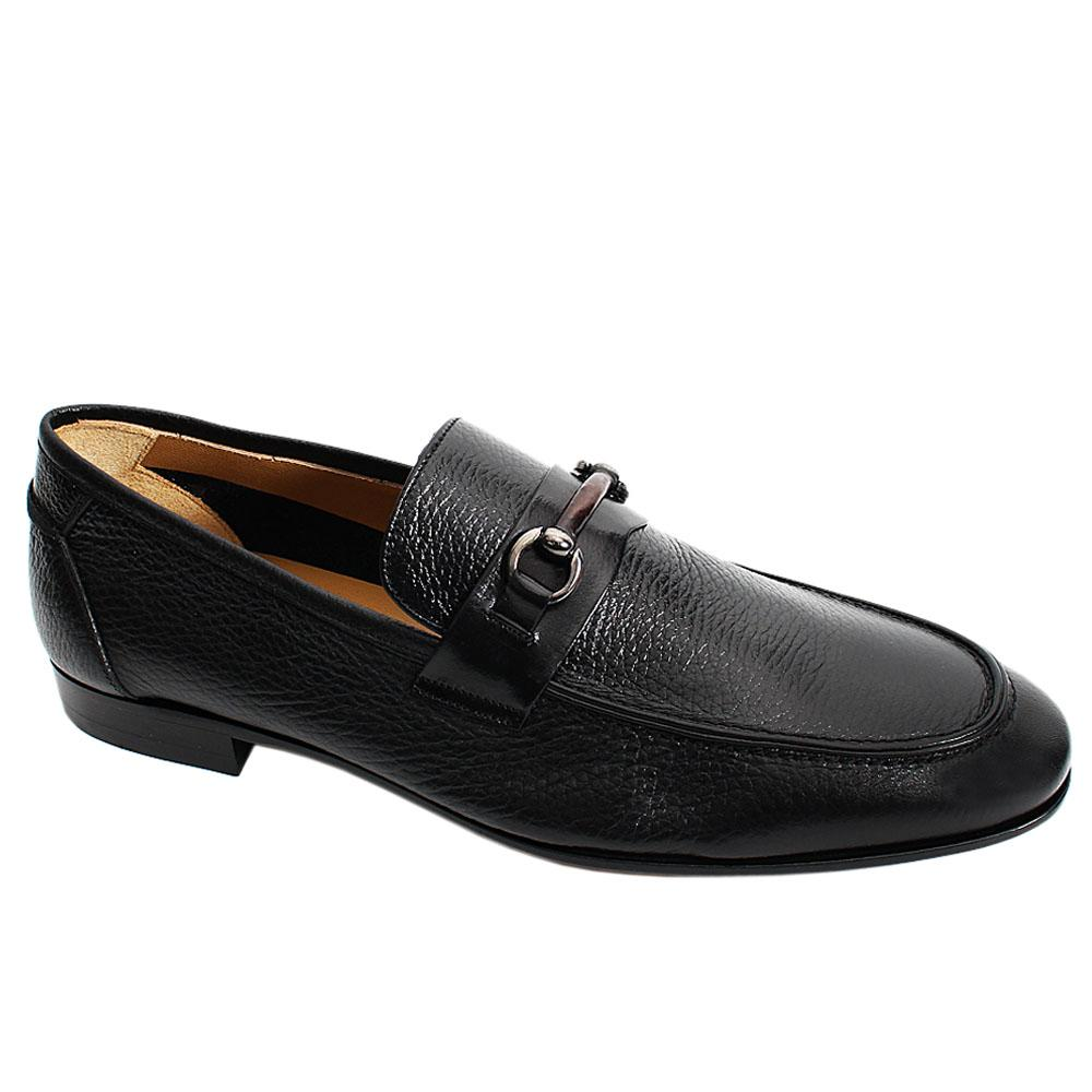 Black Alex Buffalo Italian Leather Men Penny Loafers