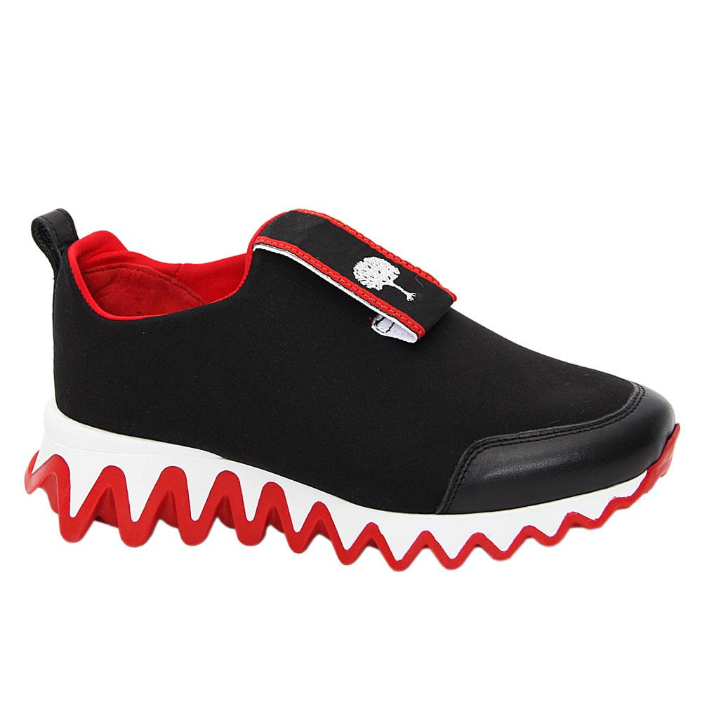 Black Jordan Hernderson Mix Fabric Italian Leather Slip-On Sneakers