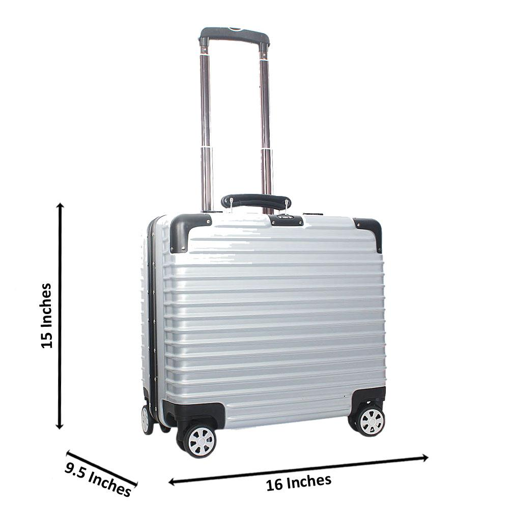 Silver 14 Inch Hard Shell 4 Wheels Spinners Pilot Suitcase