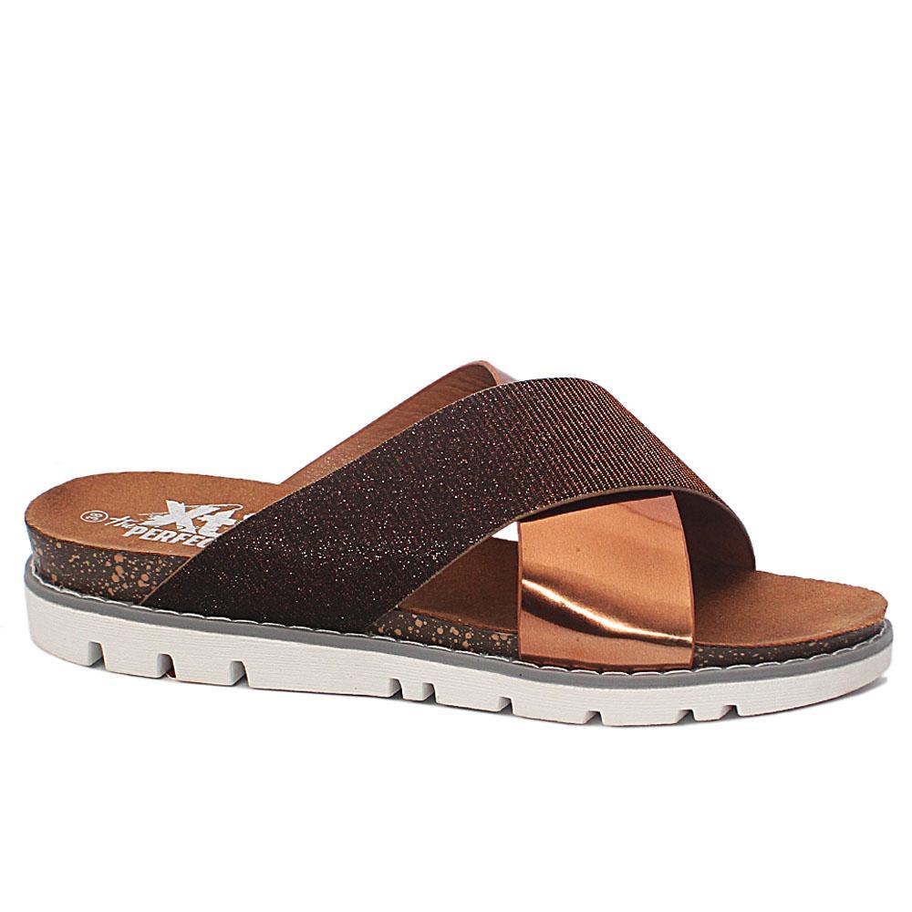 Bronze-Glitz-Leather-Ladies-Flat-Slippers