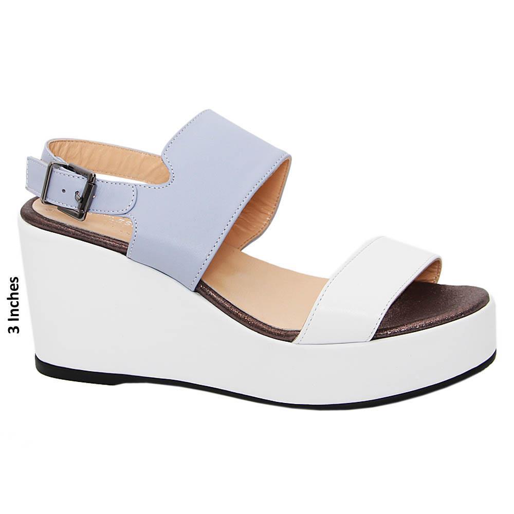 White Blue Elisa Tuscany Leather Wedge Sandals