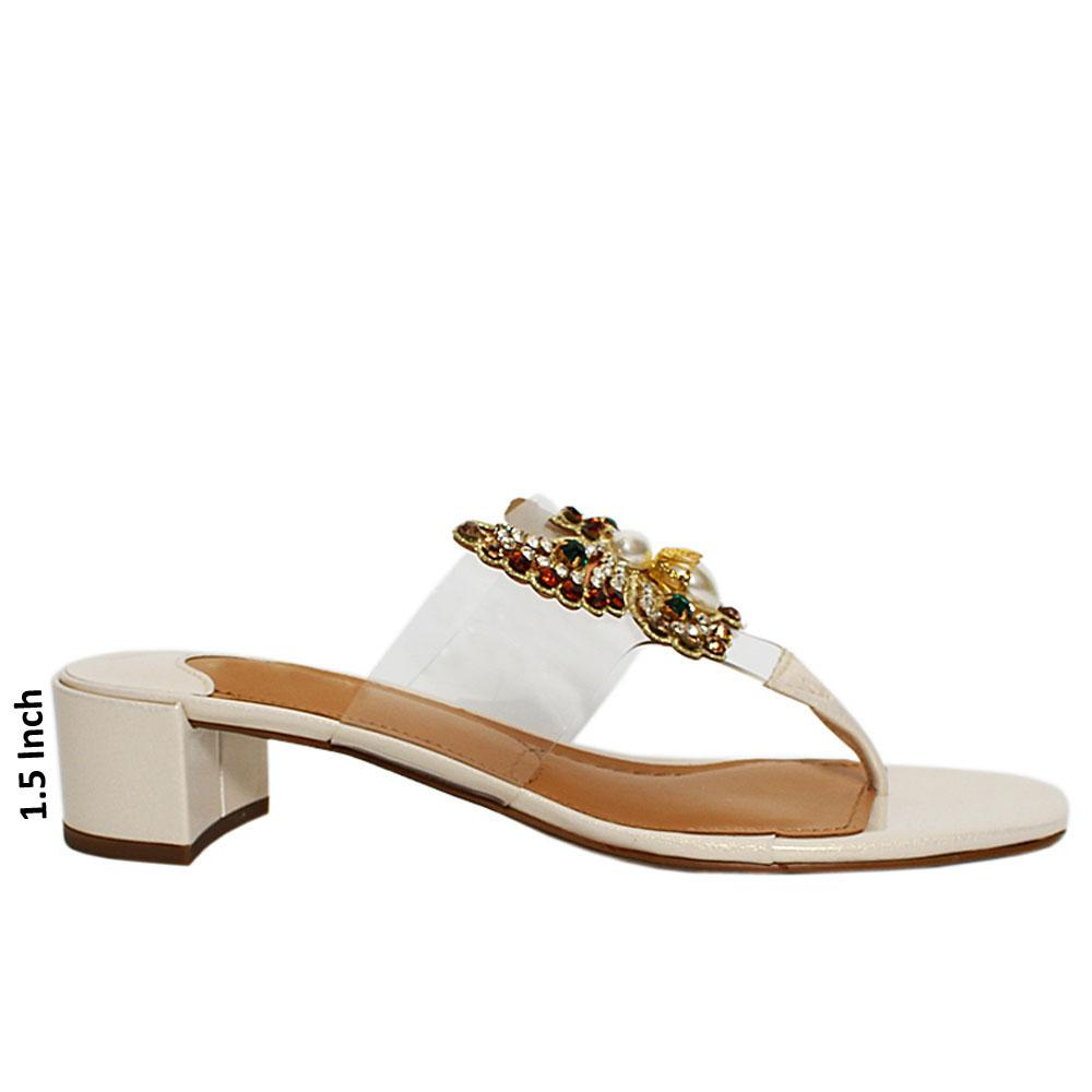 Pearl Beige Camid Patent Leather Mule