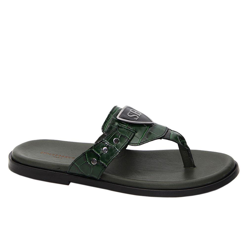Green Raul Italian Leather Slippers