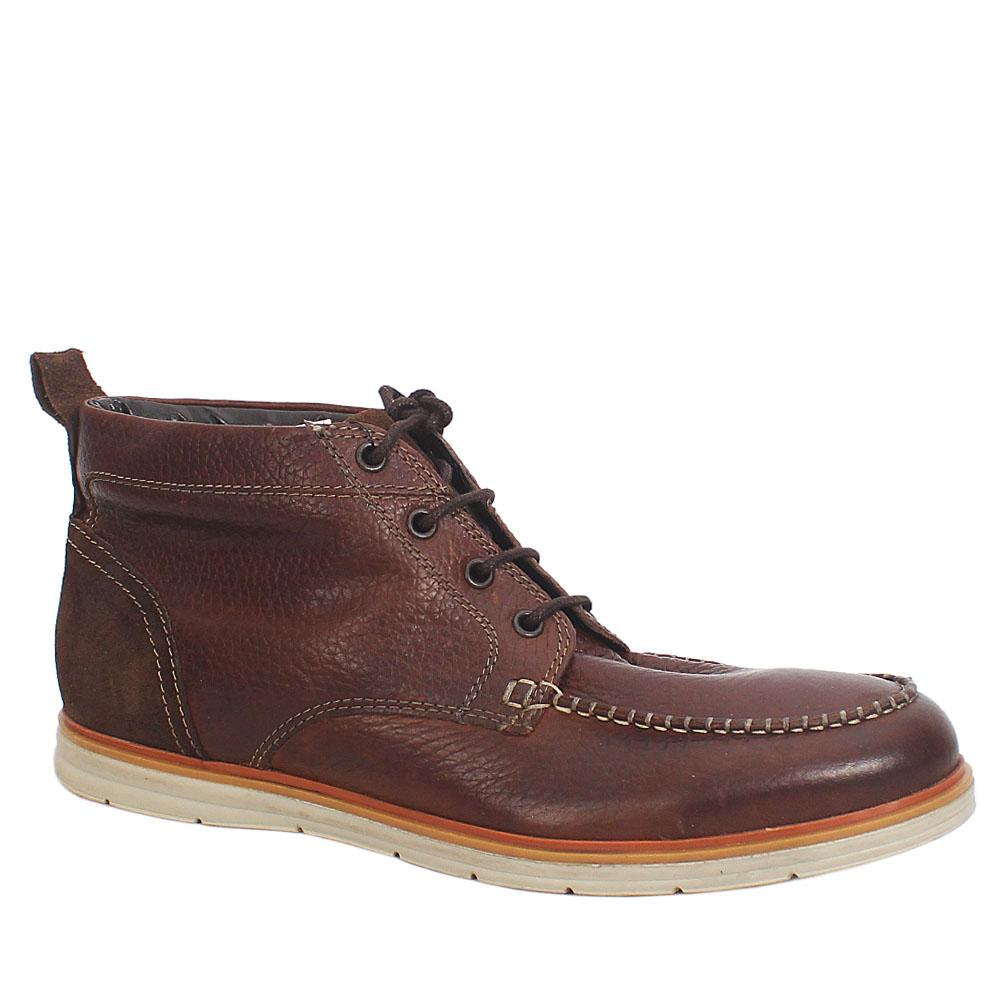 M & S Collection Dauset Brown Leather Men Ankle Sneakers