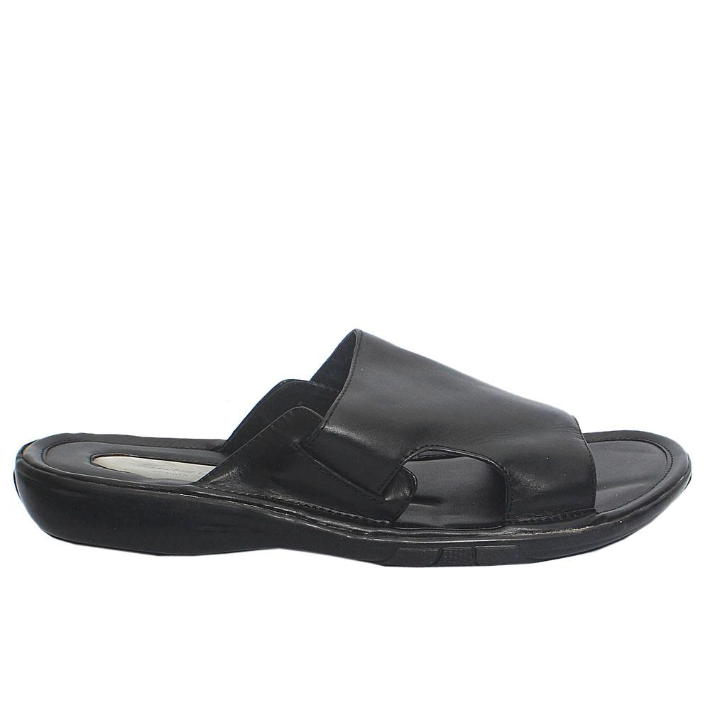 Black Leather Men Slippers