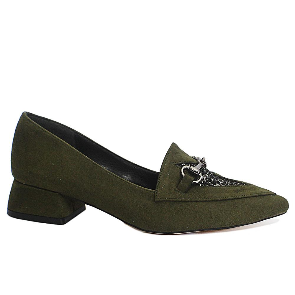 Sz 37 Green Low Heel Suede Leather Ladies Shoes
