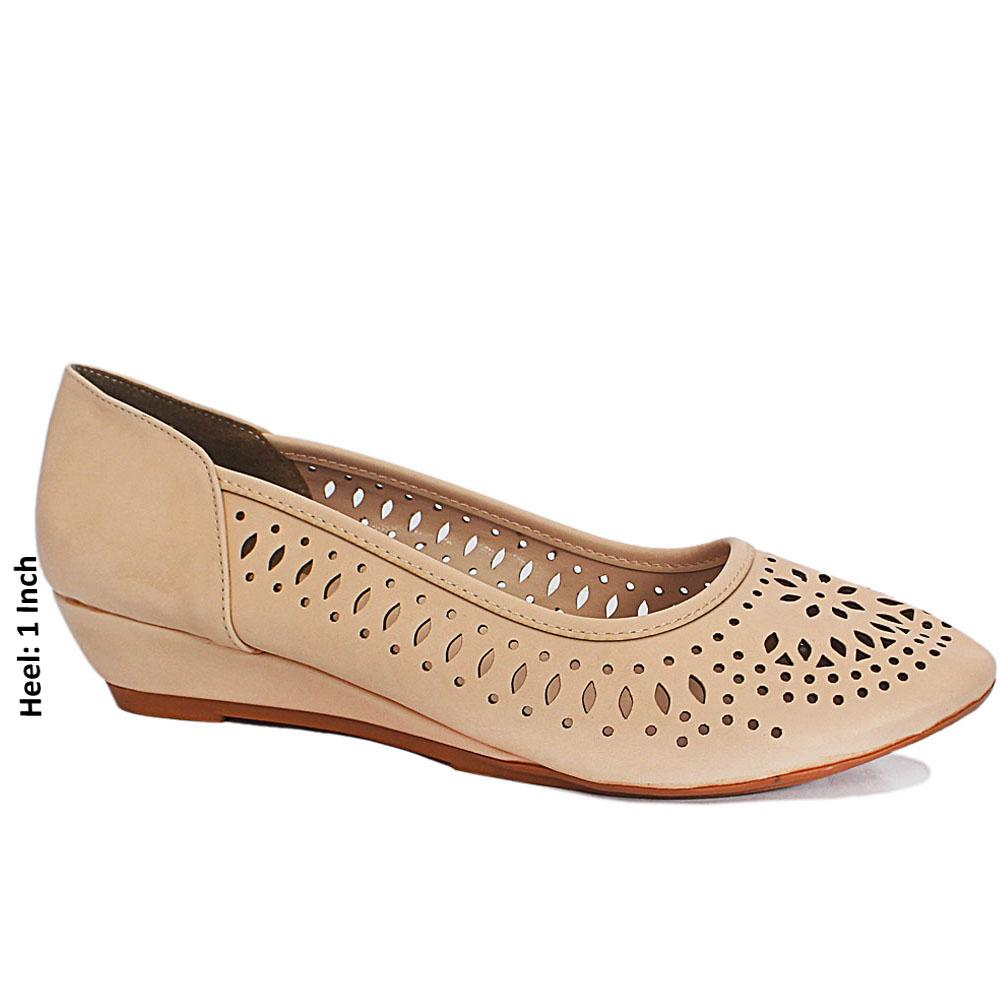Beige Perforated Leather Small Wedge