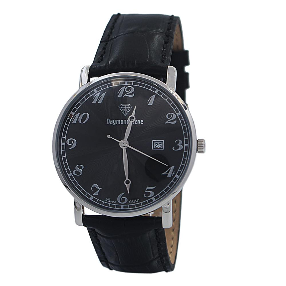 Black Silver Illusion Leather Flat Watch