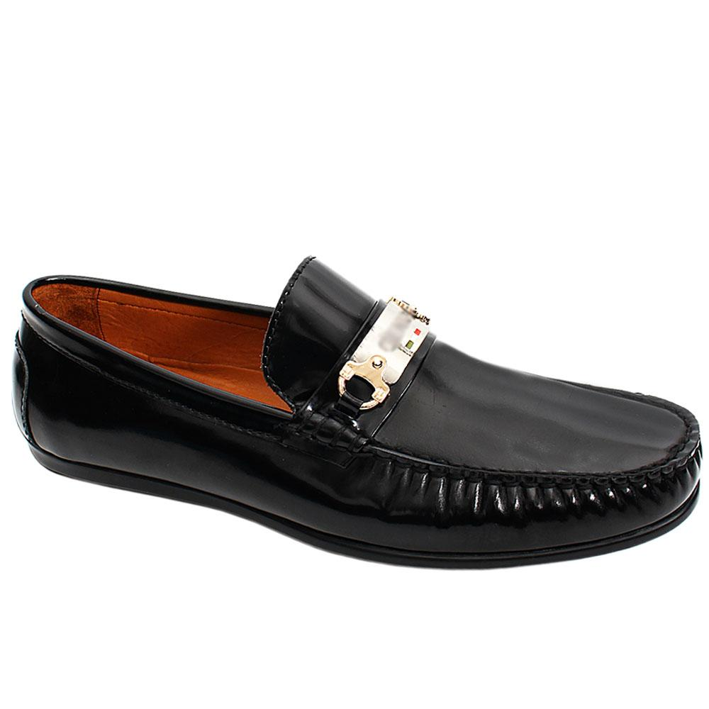 Black Matte Italian Leather Men Drivers Shoe