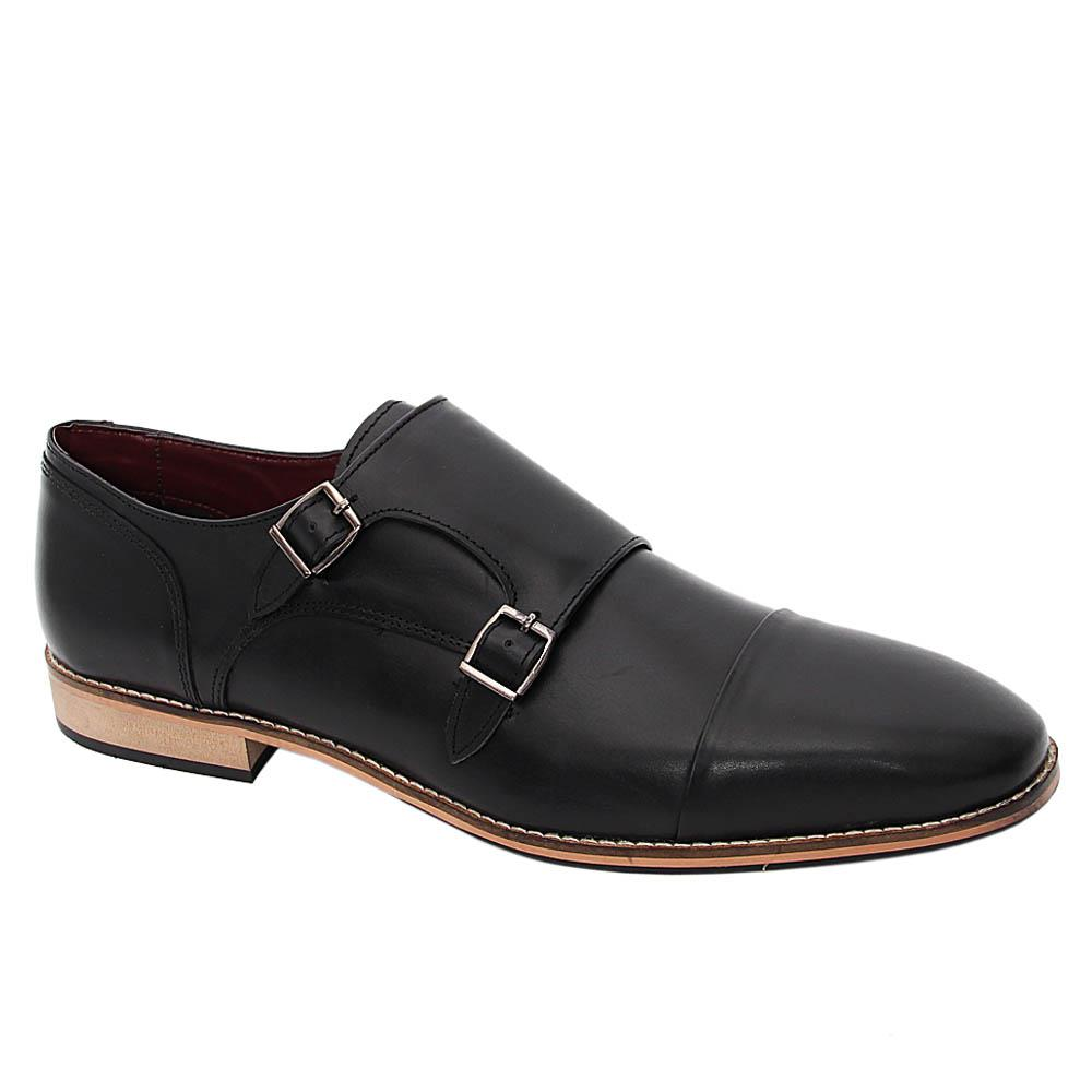 K Geiger Black Gilbert Leather Monk Strap Shoe