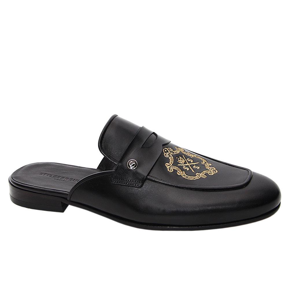 Black Benicio Italian Leather Half Shoe