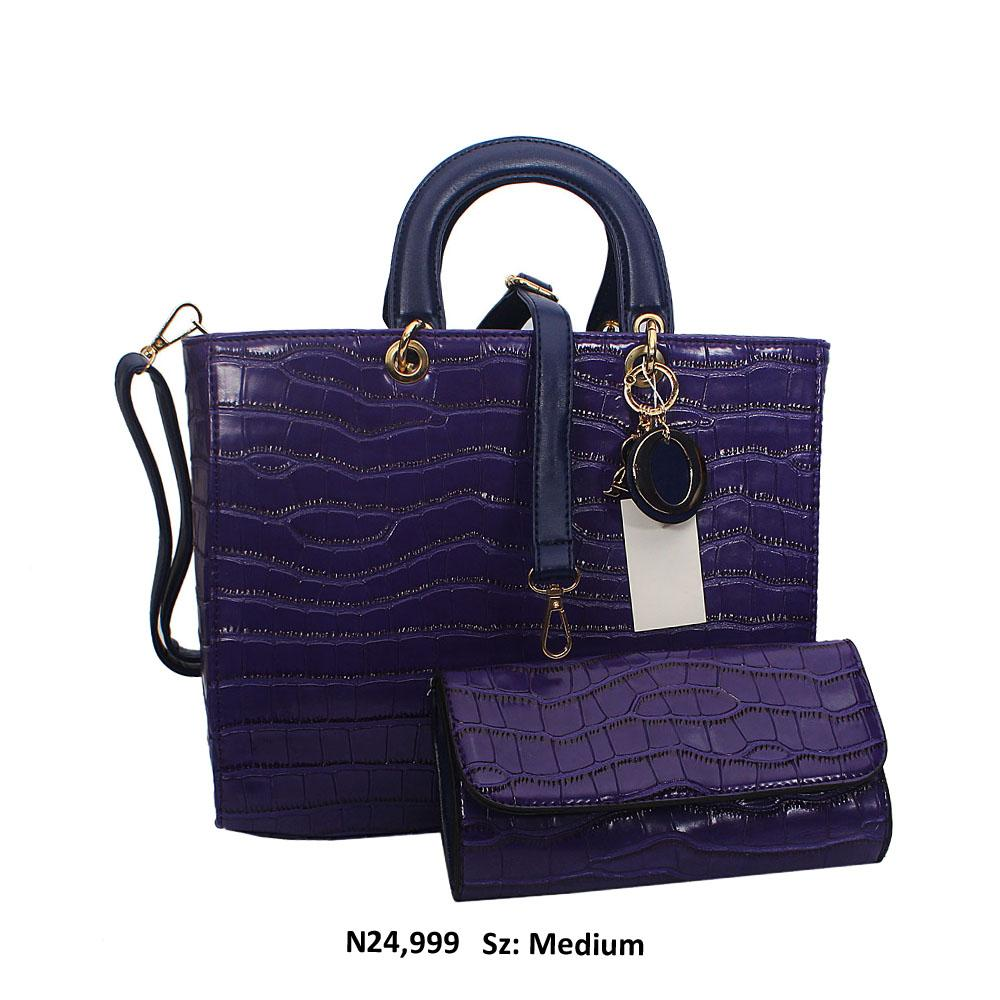 Purple Dolce Croc Style Leather Tote Handbag