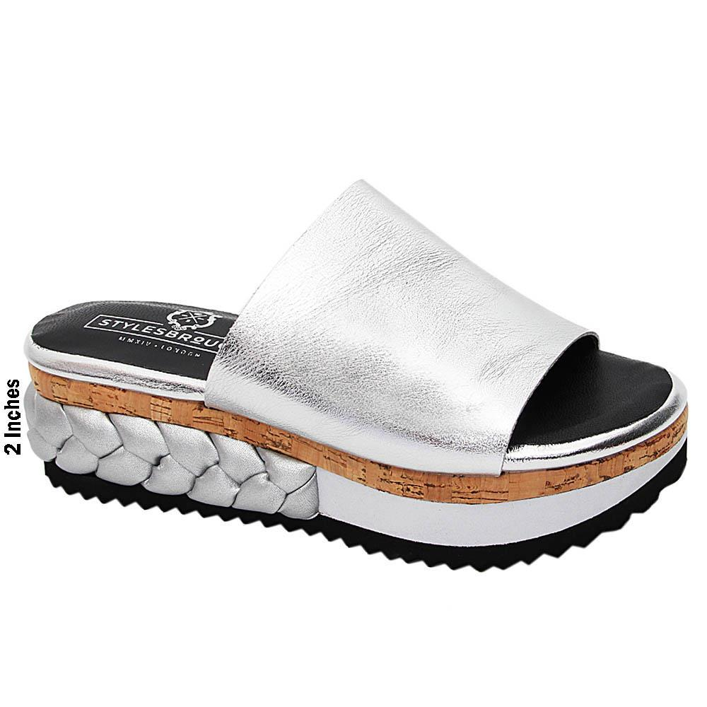 Silver Eliana Italian Leather Wedge Heel