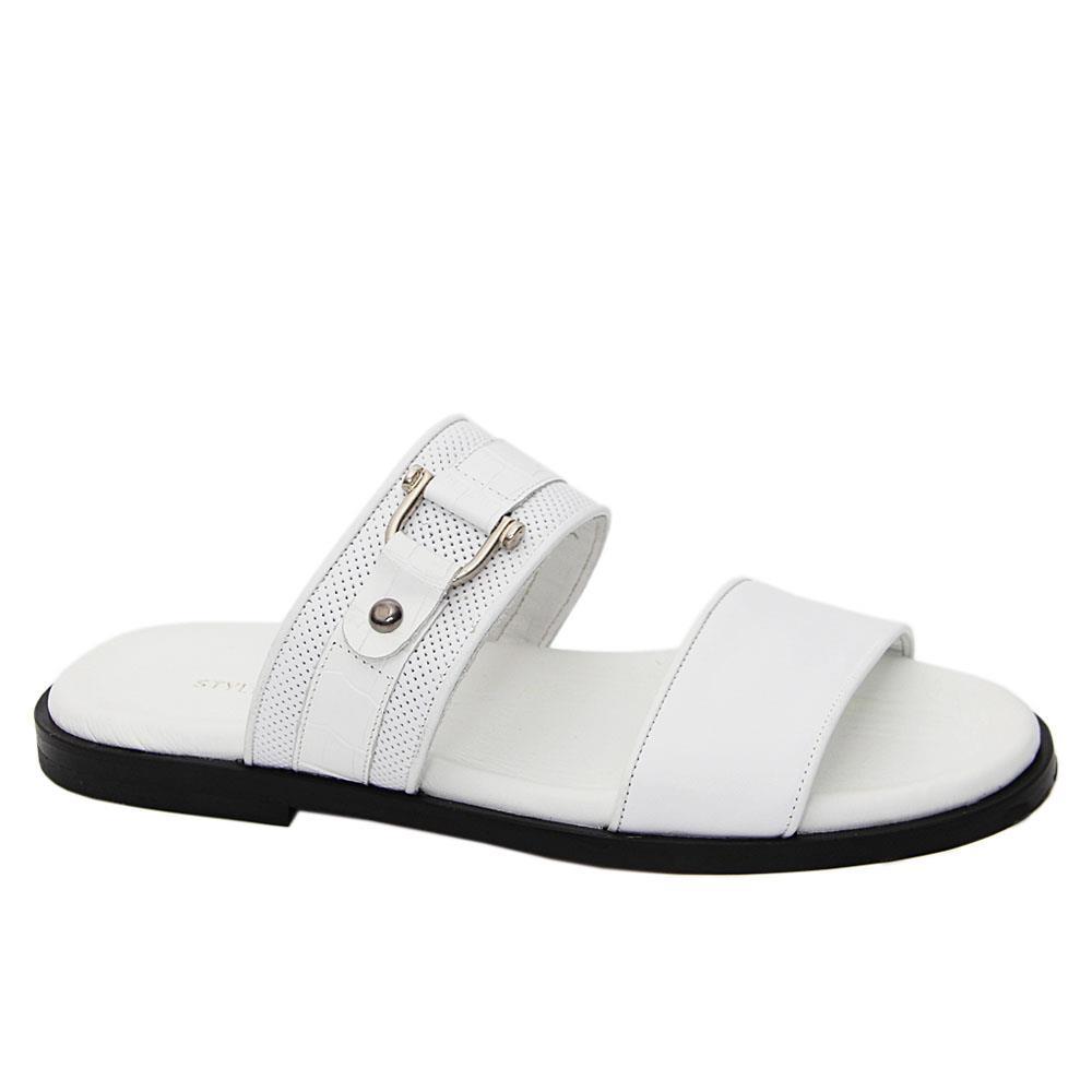 White Gianpaolo Italian Leather Slippers