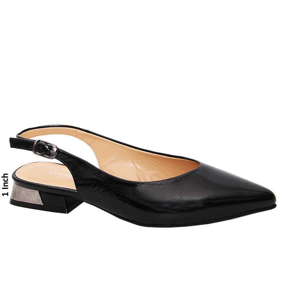 Black Irene Tuscany Patent Leather Low Heel Slingback Pump