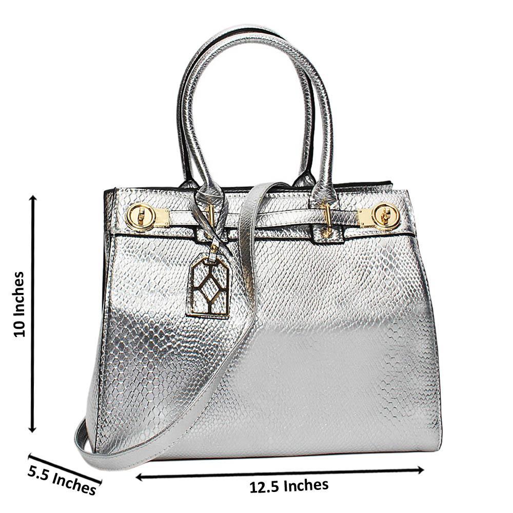 Silver Tara Star Leather Medium Tote Handbag
