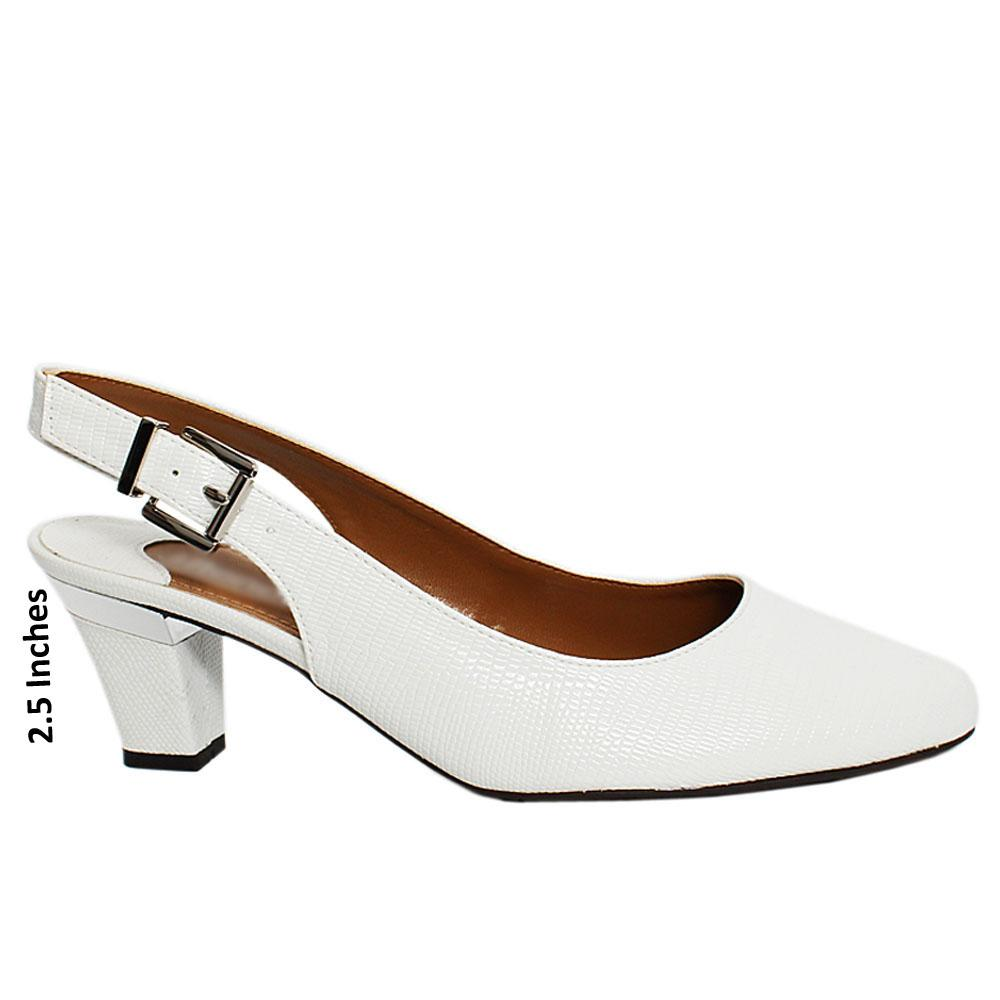 White Maxi Snake Leather Slingback Heel