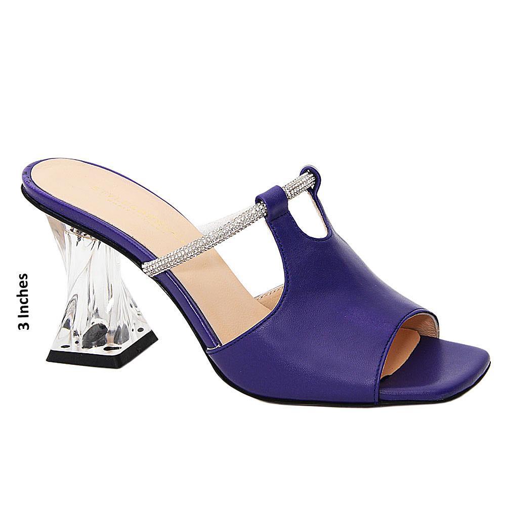 Iris Purple Claretta Tuscany Leather High Heel Mule