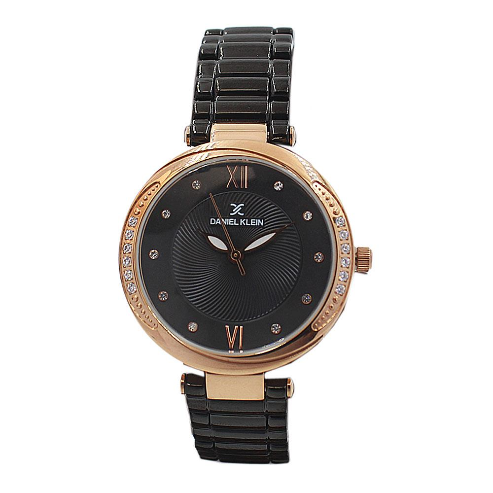 Daniel Klein Classic Black Studded Stainless steel Ladies Watch
