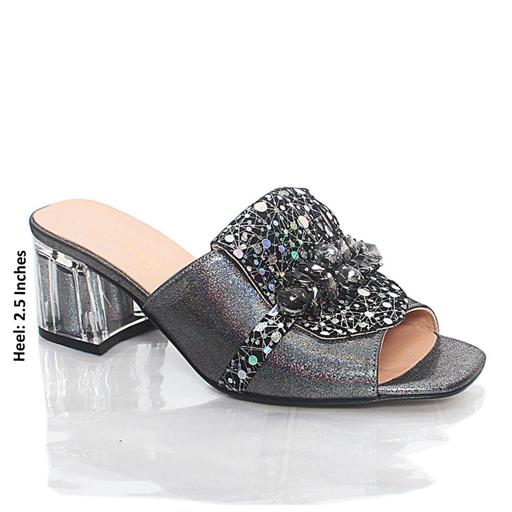 Silver Black Nelle Shiny Italian Leather Mule