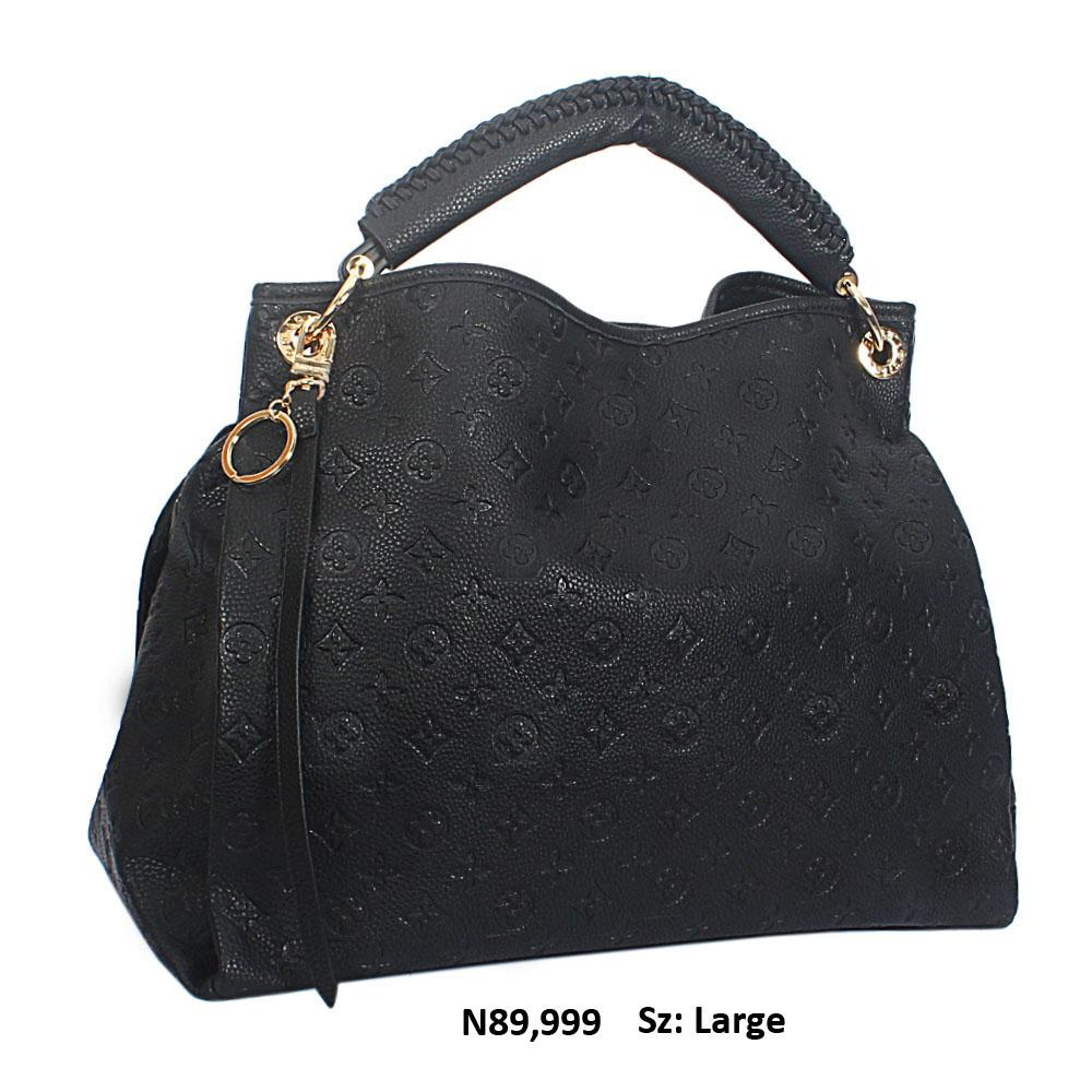 Black Cowhide Leather Big Designer Handbag