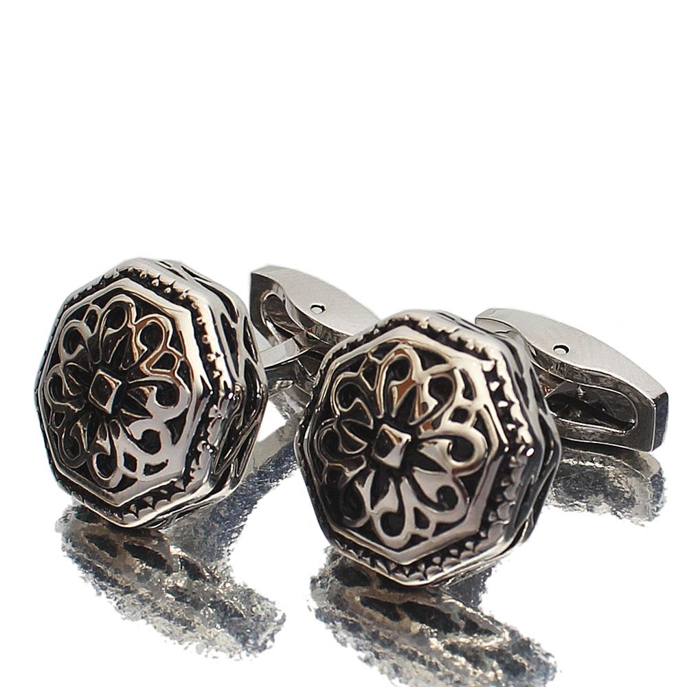 Montego Silver Etched Stainless Steel Cufflinks