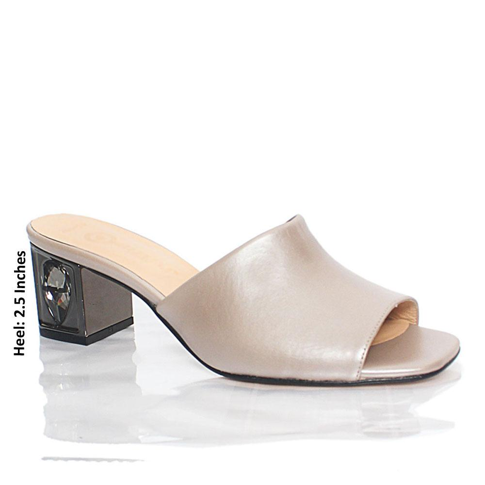Gray Saks Adele Italian Leather Mule