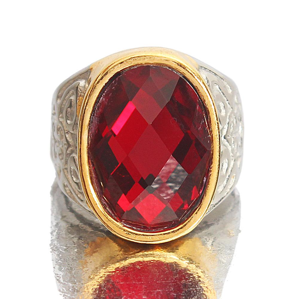 Twin-Tone Red Stoned Steel Ring