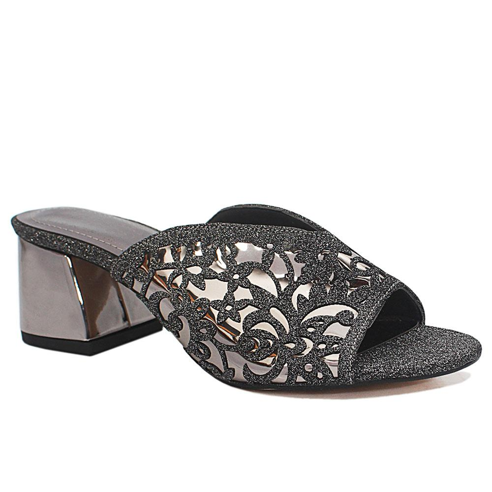 Maite Silver Black Floral Shimmering Leather Low Heel Slippers