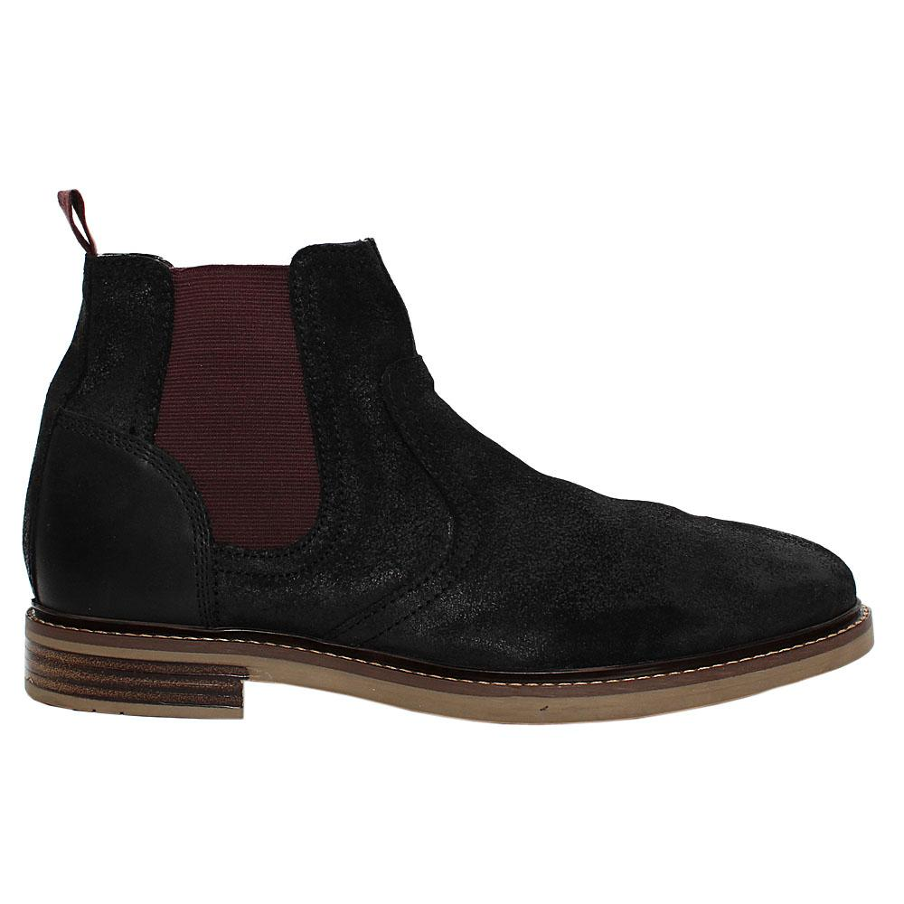 Black Suede Leather Chelsea Boot
