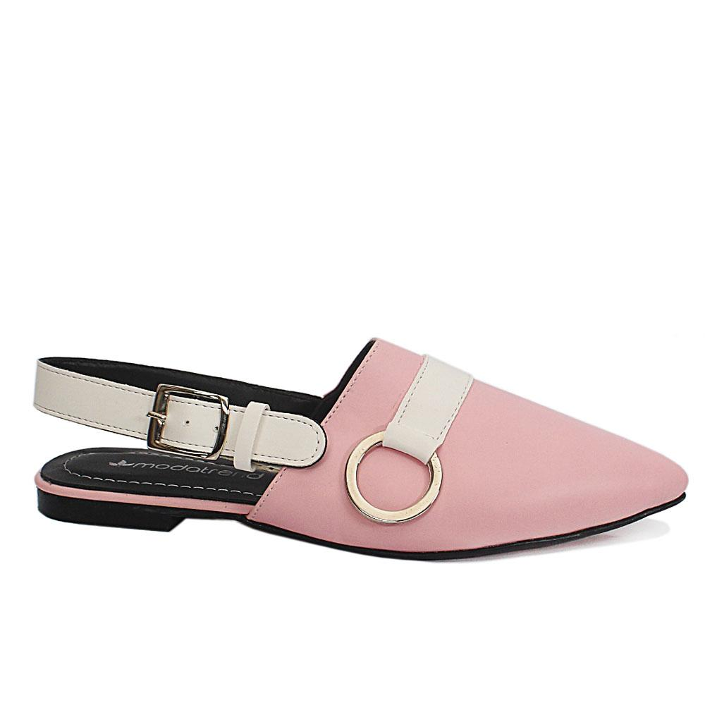 Pink Pointed Leather Ladies Flat Shoe