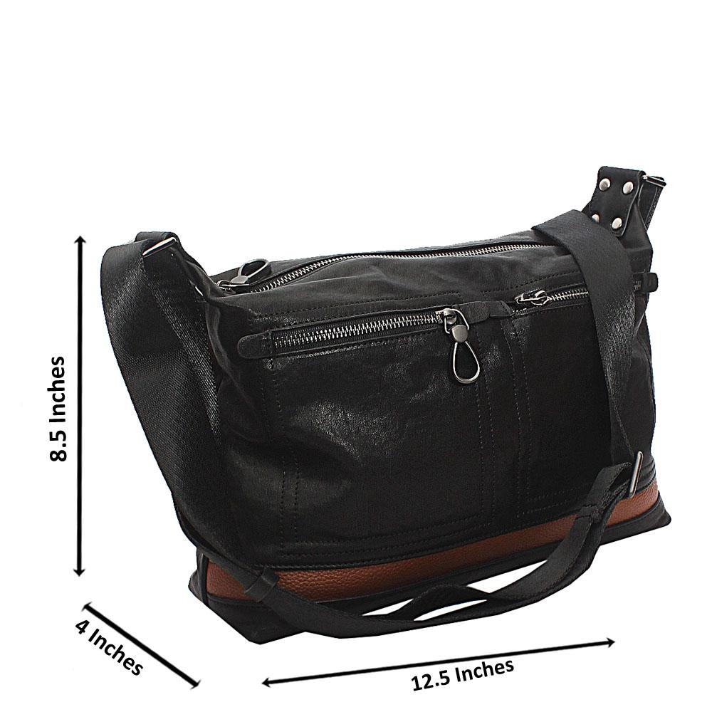 Black Classic Vintage Cowhide Leather Messenger bag