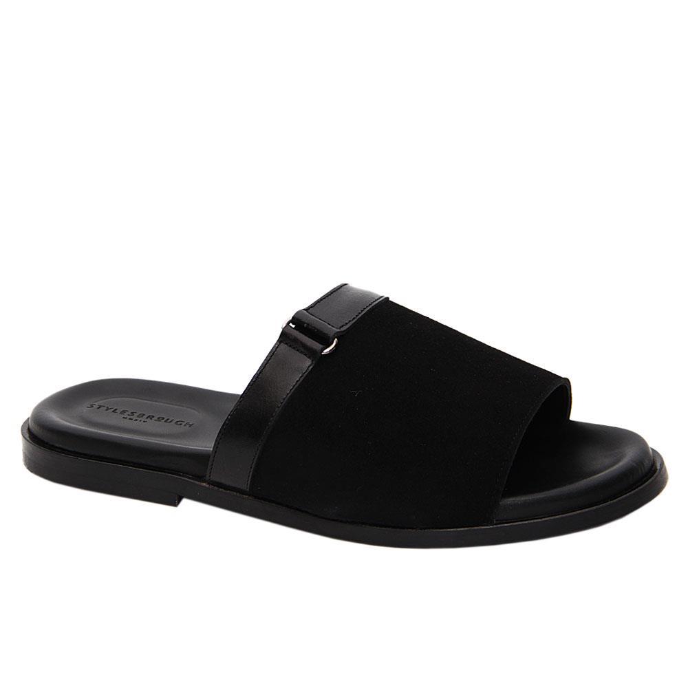 Black Reynolds Suede Italian Leather Slippers