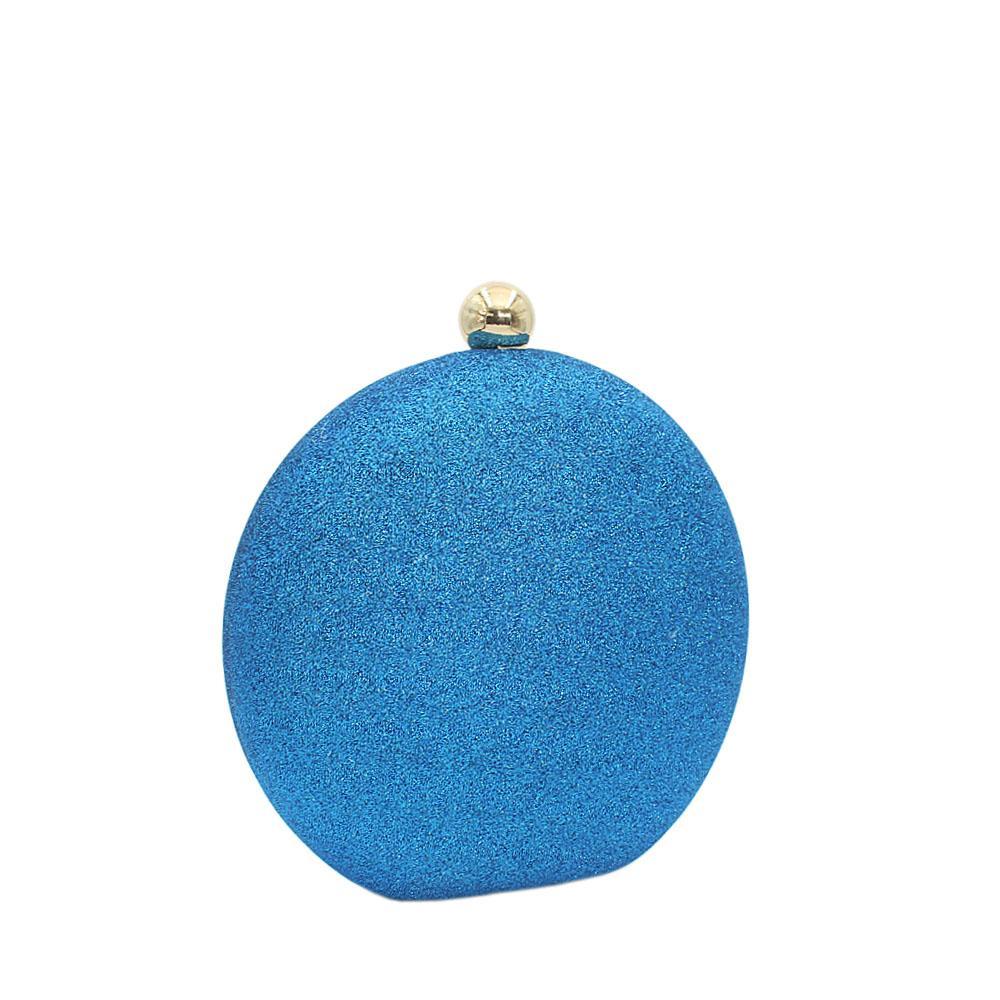 Blue Round Shimmering Satin Clutch Purse
