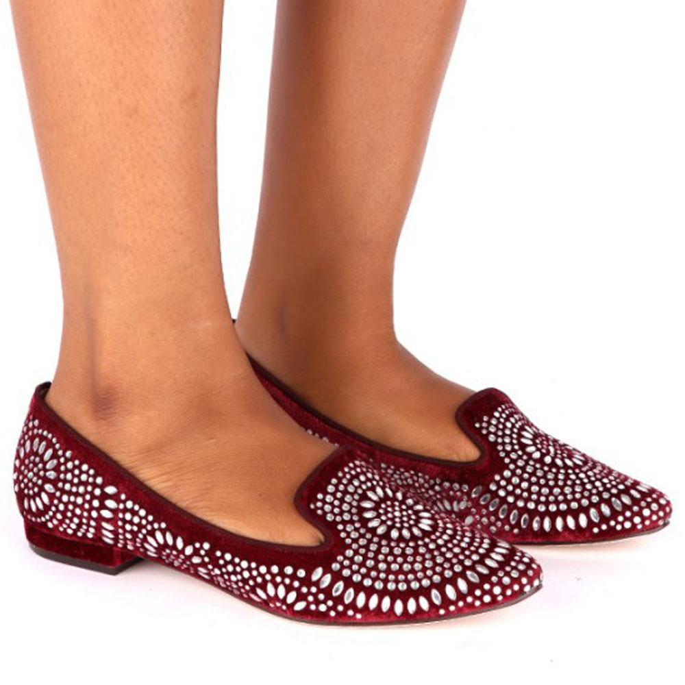 Wine Eileen Crystals Studded Suede Leather Ladies Flat Shoe