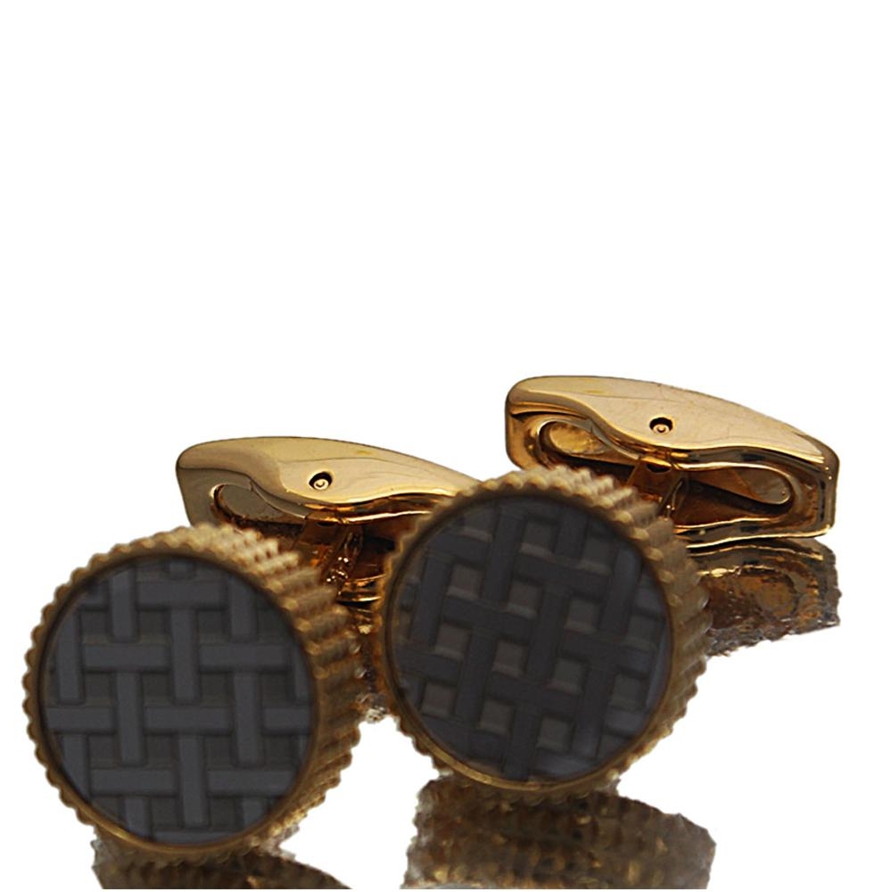Gold Silver Etched Stainless Steel Cufflinks