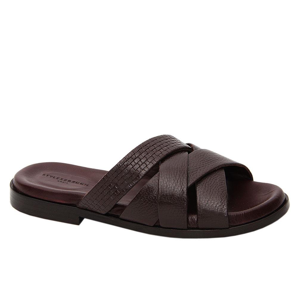 Coffee Xavier Crossover Italian Leather Slippers