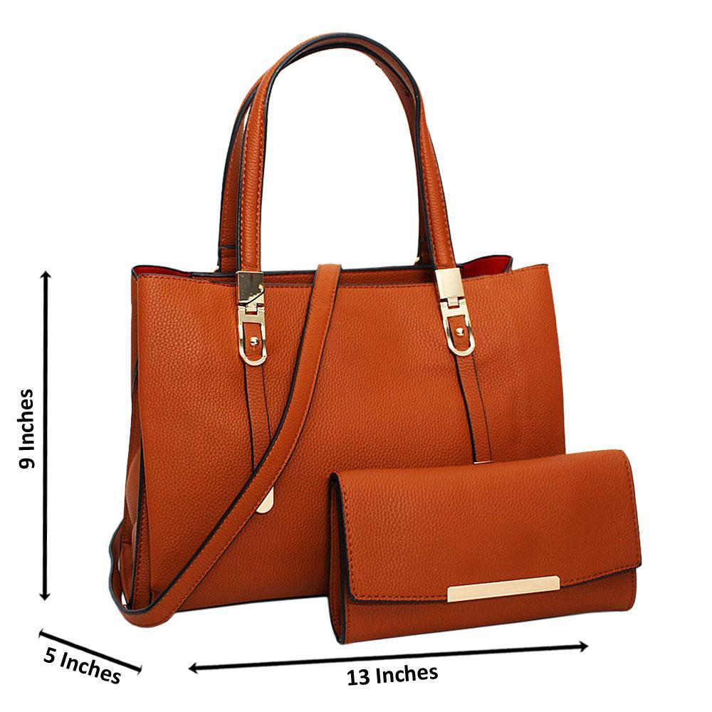 Brown Scarlett Leather Medium Tote Handbag