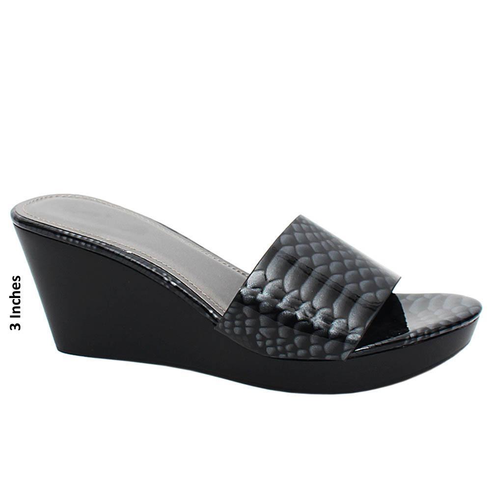 Black Solange Snake Print Patent Leather Wedge Heels