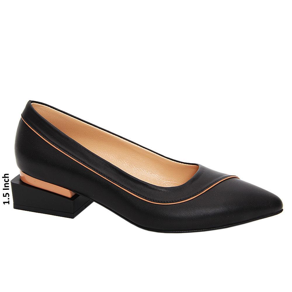 Black Honora Tuscany Leather Low Heel Pumps
