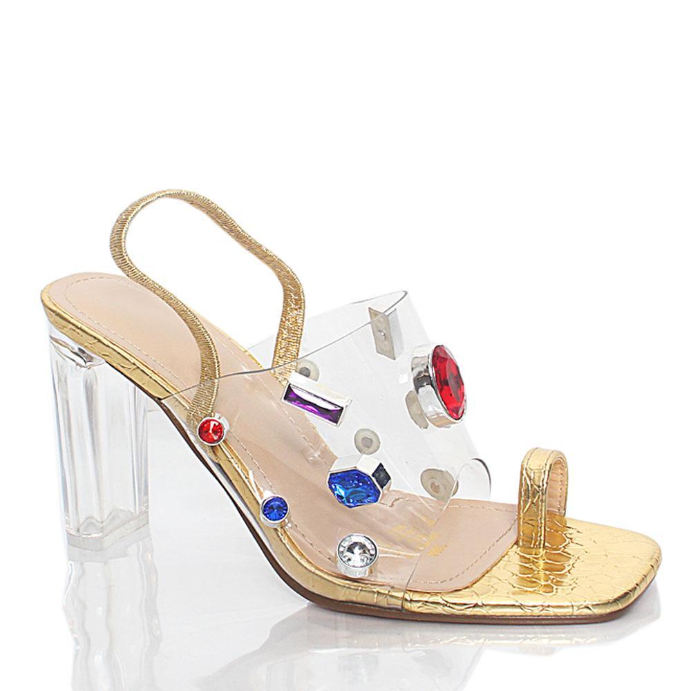 Gold Crystals Studded Transparent Leather High Heel