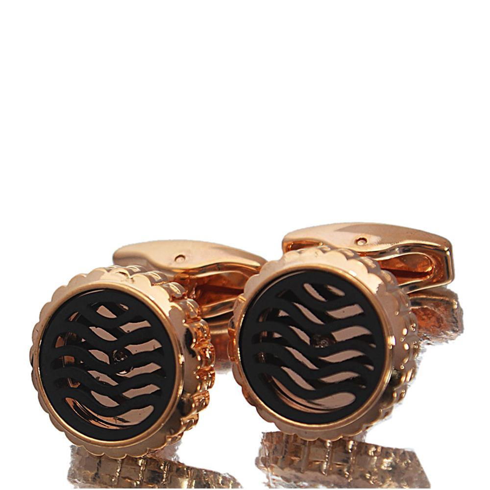 Rose Gold Black Patterned Stainless Steel Cufflinks