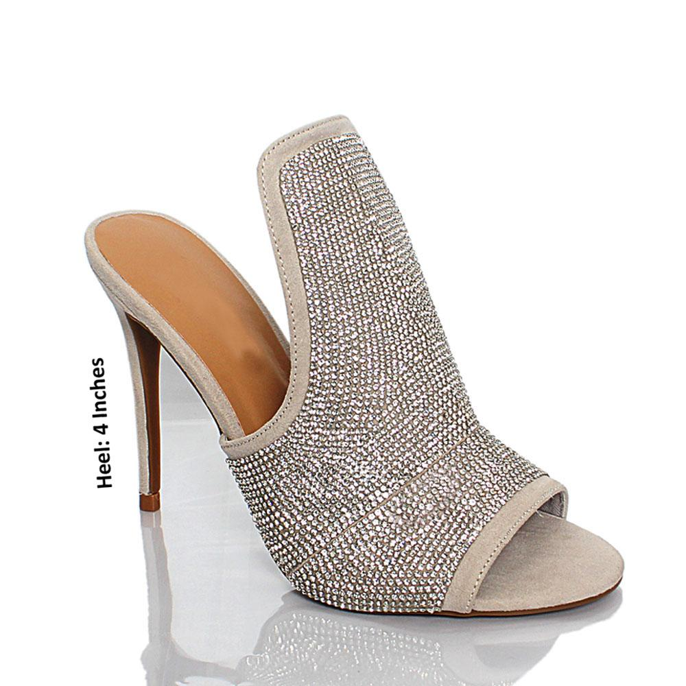 Gray Crystal Studded AM Medussa Suede Leather High Heel