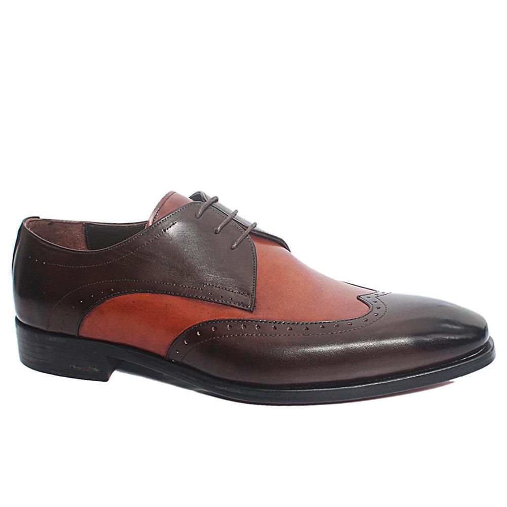 Coffee Tony Italian Leather Men Derby Shoes