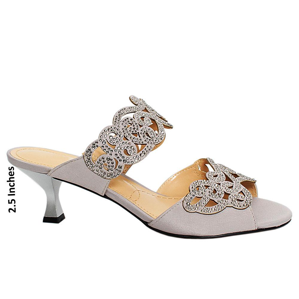 Silver Sandown Satin Leather Mule