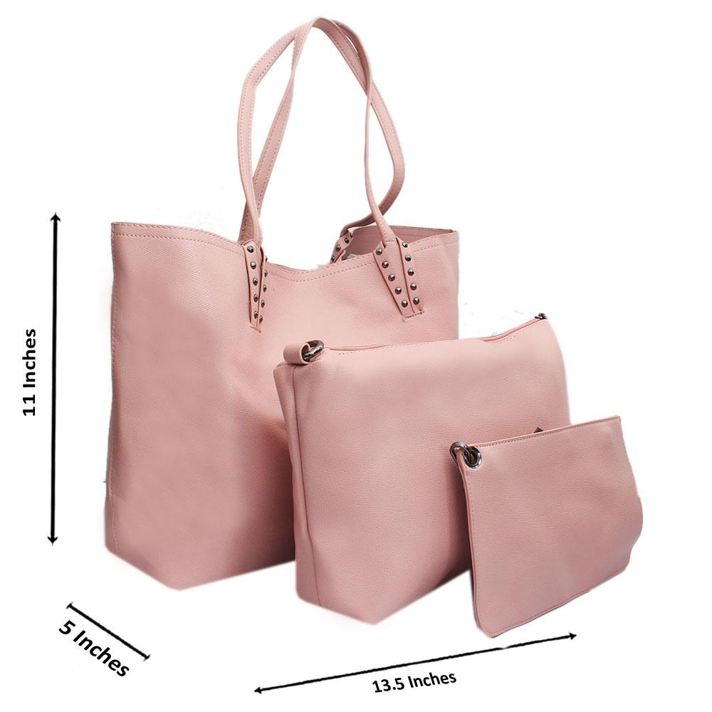Pink Leather Medium 3 in 1 Handbag
