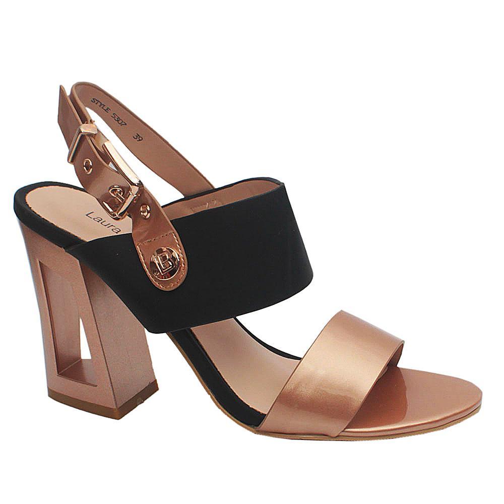 Biagiotti Gold Black Patent Leather Heels
